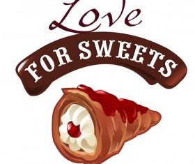 Chocolate sweet dessert vector illustration 05
