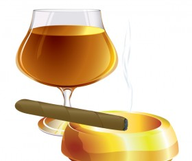 Cigar with wine vector 01