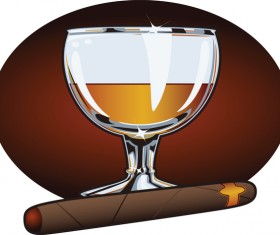 Cigar with wine vector 02