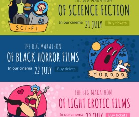 Cinema genres horizontal banners vector
