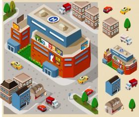 City buildings model flat vector 01