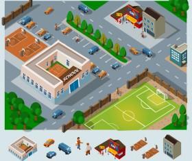 City buildings model flat vector 04