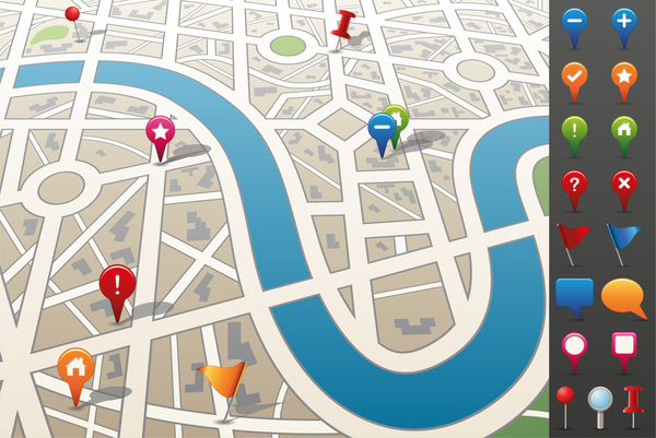 City map with navigation vectors 01