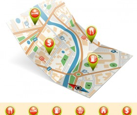 City map with navigation vectors 02