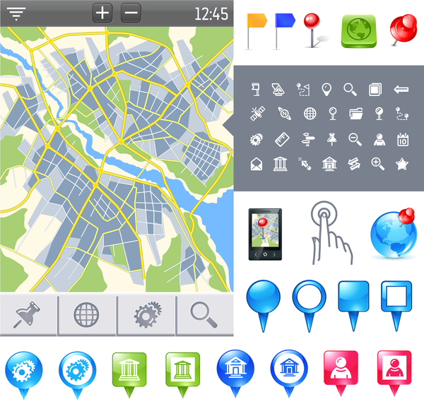 City map with navigation vectors 05