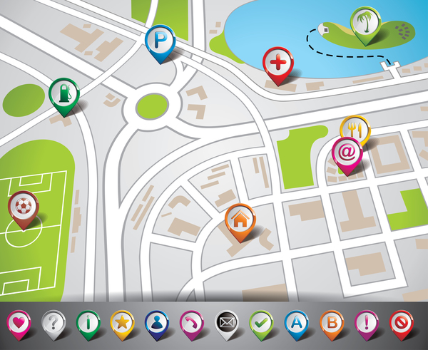 City map with navigation vectors 07