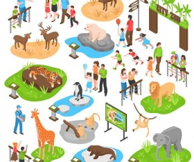 City zoo flat vector material