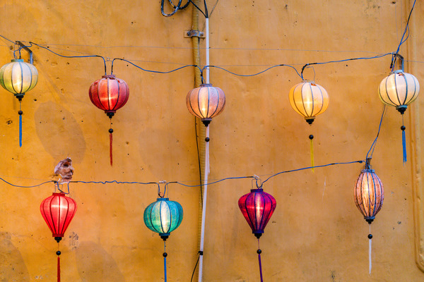 Classical electric lantern hanging on wall Stock Photo