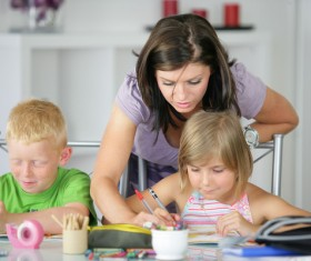 Coaching children to learn Stock Photo 03