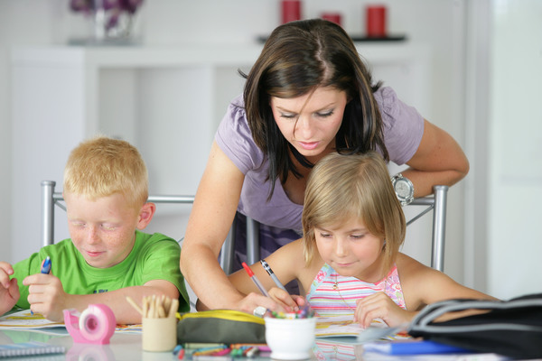 Coaching children to learn Stock Photo 03