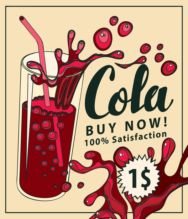 Cola vintage poster vector material