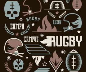 College rugby team badges skull vector