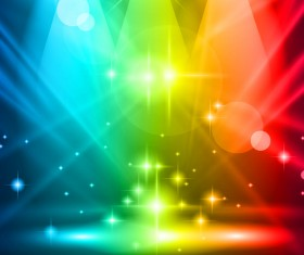 Colored magic spotlights effect vector 01