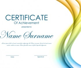 Colored wave with certificate template vector 03
