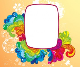 Colorful floral with frame vectors 01