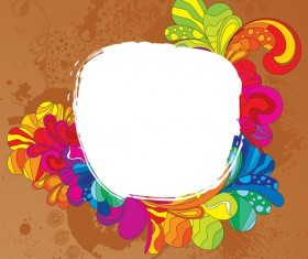 Colorful floral with frame vectors 02