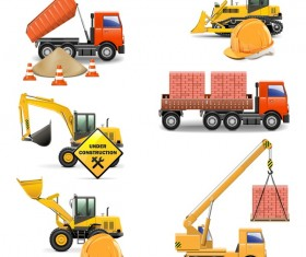 Construction machines vectors illustration 01