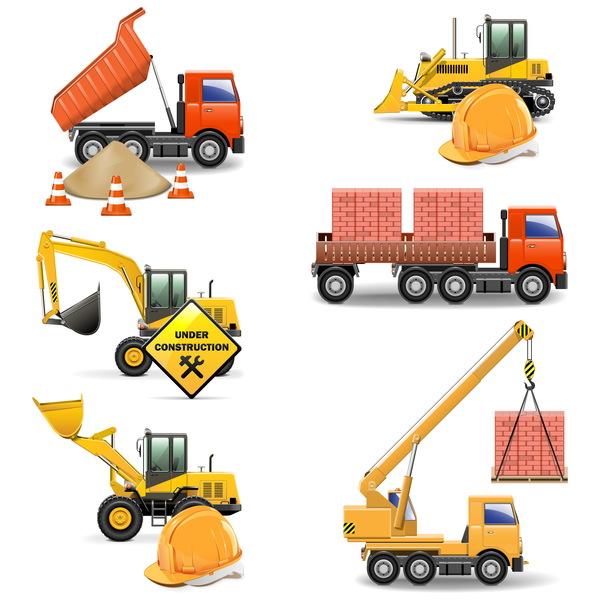 Construction machines vectors illustration 01