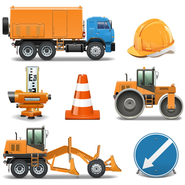 Construction machines vectors illustration 02