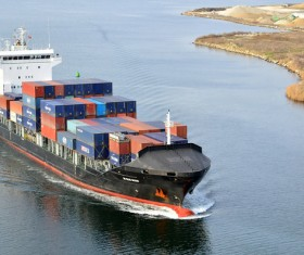 Container freight ship Stock Photo 02