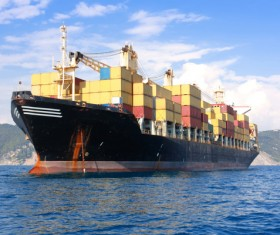 Container freight ship Stock Photo 03