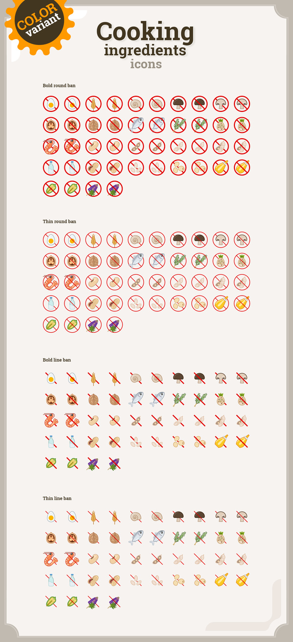 Cooking ingredients icons