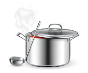 Cooking pot and spoon vector