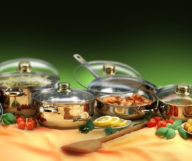 Cookware and food on the table Stock Photo