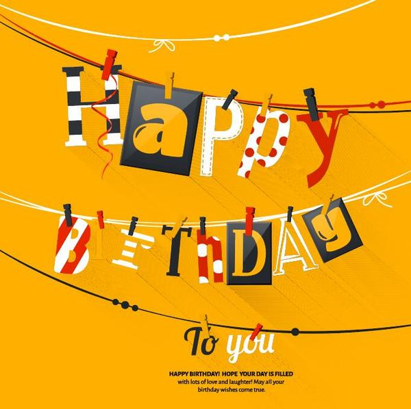 Creative birthday background yellow vector free download
