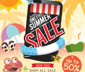 Creative summer sale background vectors