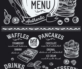 Crepes waffles food menu dessert vectors