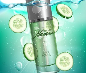 Cucumber cosmetic advertising poster vector
