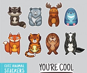 Cute animal sticker vector