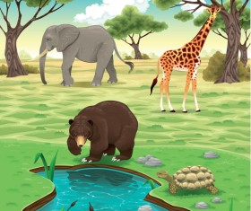 Cute cartoon wild animal with natural vector