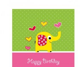 Cute elephant with birthday card vector