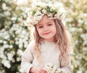 Cute little girl wearing garland Stock Photo 01