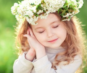 Cute little girl wearing garland Stock Photo 02