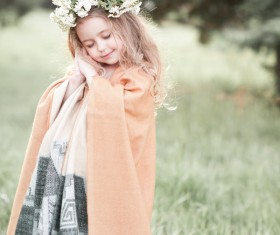 Cute little girl wearing garland Stock Photo 04
