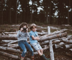 Cute young boys sitting on tree trunks Stock Photo