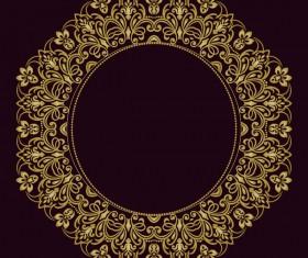 Decorative line art frame vector material