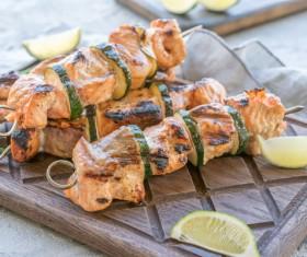Delicious kebab and green lemon Stock Photo
