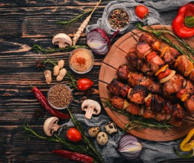 Delicious kebabs and condiments Stock Photo 02