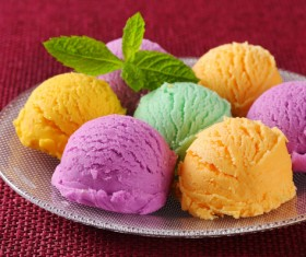 Different colors of ice cream on plate Stock Photo 01