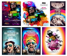Disco club flyer template vector 04