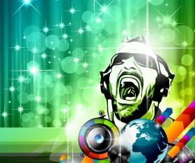 Disco dance party flyer template vectors 01