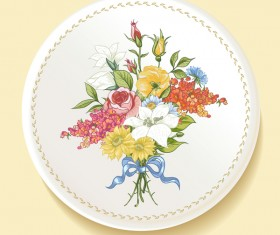 Dishes with decor flowers vectors 01
