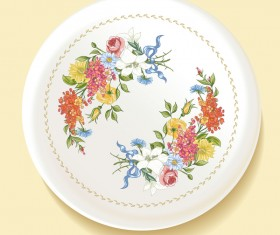 Dishes with decor flowers vectors 02
