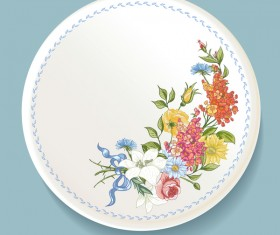 Dishes with decor flowers vectors 03