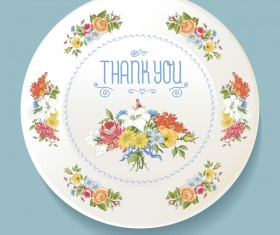 Dishes with decor flowers vectors 04