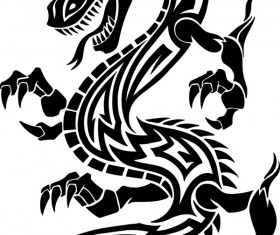 Dragon tatoo illustration vector 01